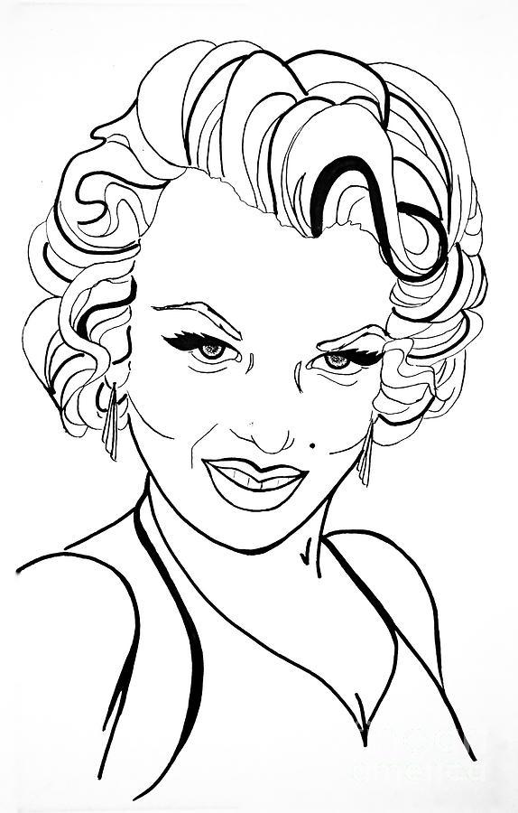 Marilyn Monroe Line Drawing Drawing by Linda Simon - line drawing