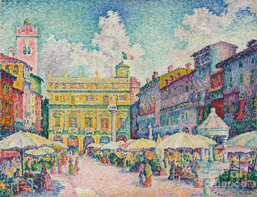 Monet Iphone Wallpaper Market Of Verona Painting By Paul Signac