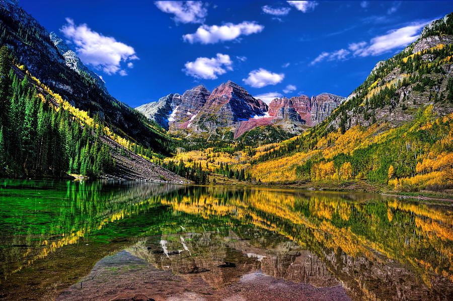 Fall Leaves Desktop Wallpaper Maroon Bells Fall Colors Photograph By Ken Smith