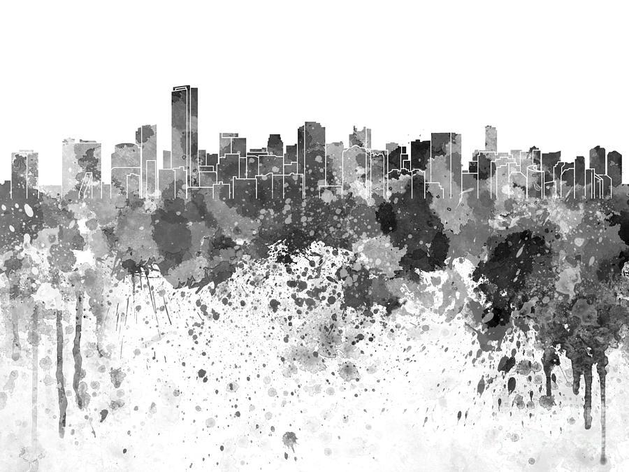 Miami Skyline In Black Watercolor On White Background