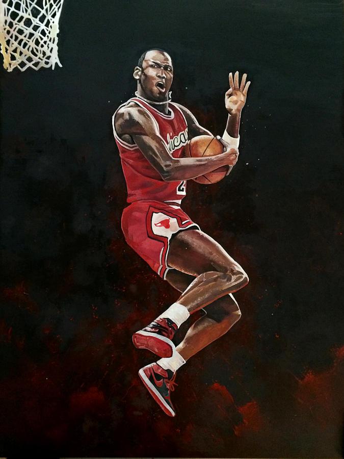 Air Jordan Wallpaper Iphone 4 Michael Jordan Cradle Dunk Painting By Michael Pattison