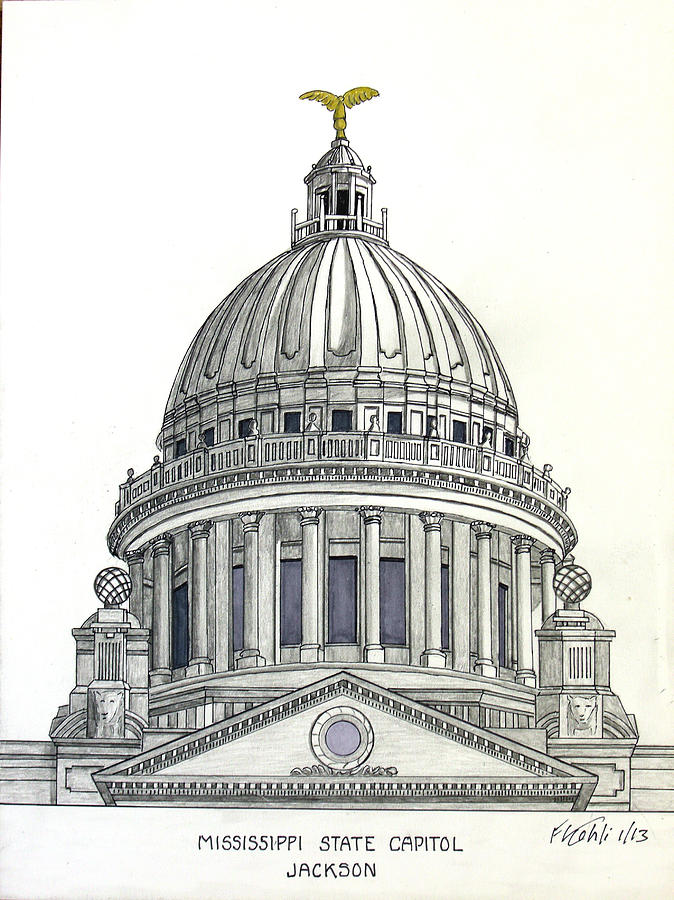 Mississippi State Wallpaper Iphone Mississippi State Capitol Drawing By Frederic Kohli