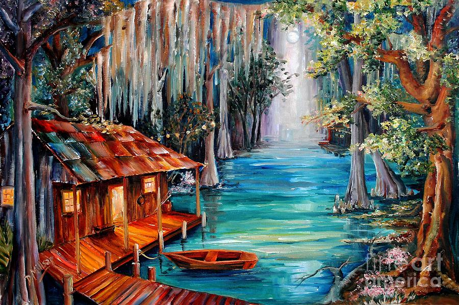 American Paint And Wallpaper Fall River Moon On The Bayou Painting By Diane Millsap