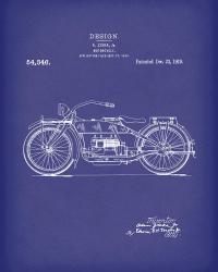 Motorcycle Design 1919 Patent Art Blue Drawing by Prior ...