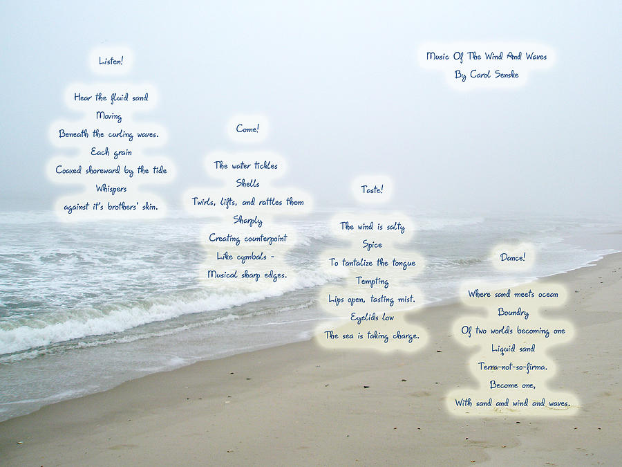 Music Of The Wind And Waves Poem On Ocean Background Photograph by