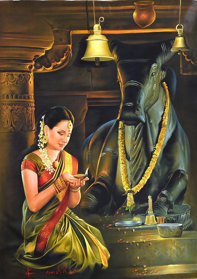 Baby Krishna Wallpaper 3d Nandi Temple Painting By Kamal Rao
