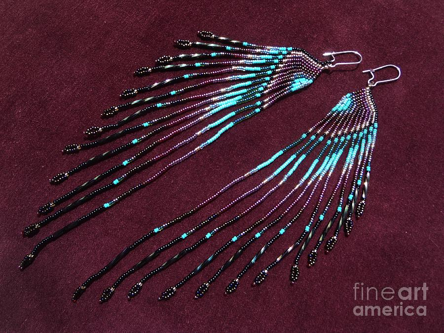 Native American Inspired Seed Bead Long Earrings Jewelry