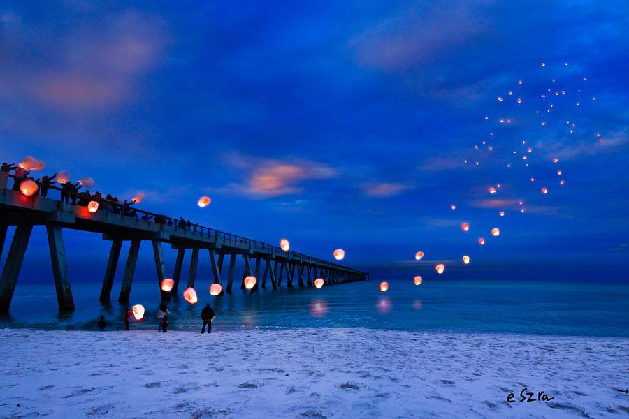 Beautiful Girl Image Hd Wallpaper Navarre Beach Fishing Pier Night Landscape Photograph By