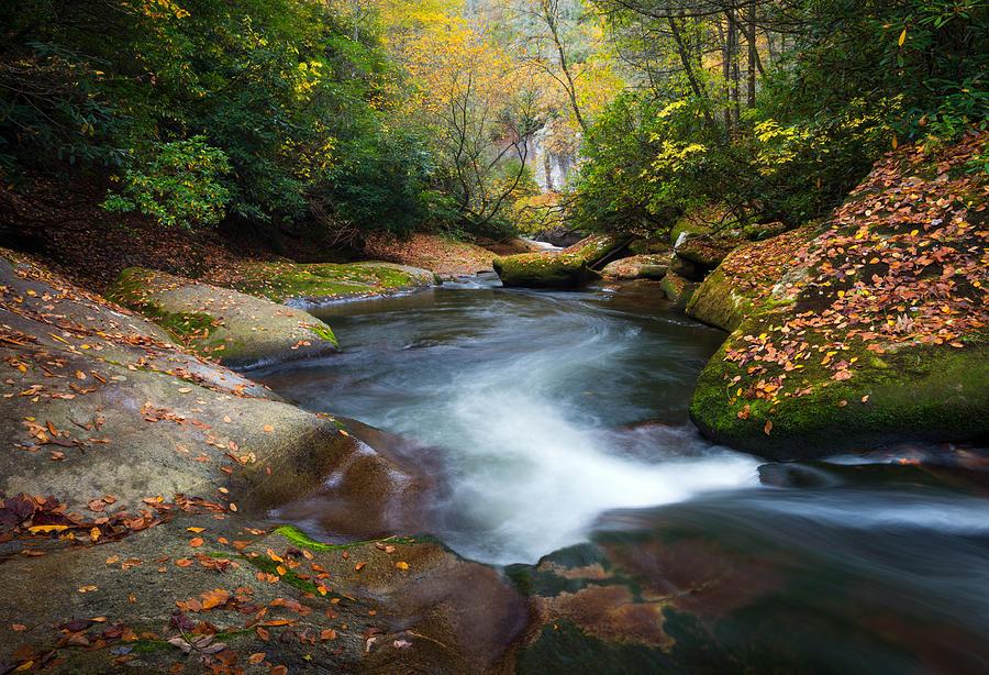 Fall Wooded Wallpaper North Carolina Mountain River In Autumn Fall Foliage