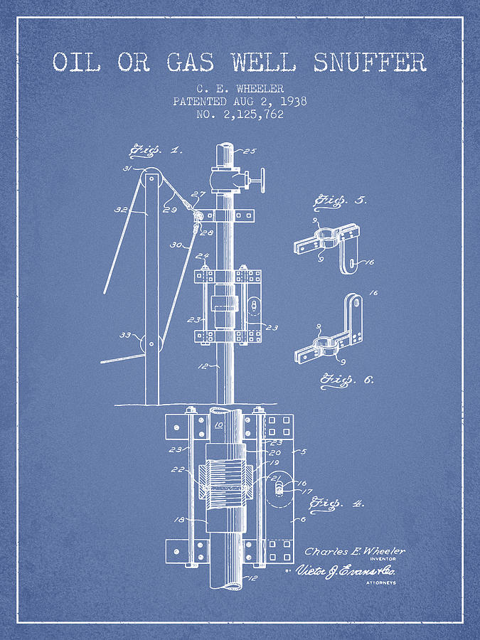 Oil Or Gas Well Snuffer Patent From 1938 - Light Blue Digital Art by