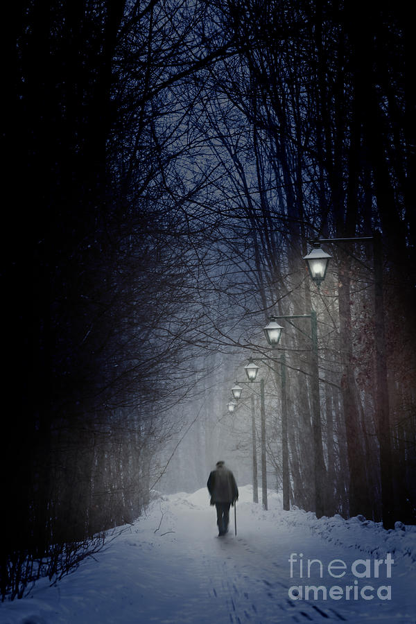 Wood Iphone 6 Wallpaper Old Man Walking On Snowy Winter Path At Night Photograph