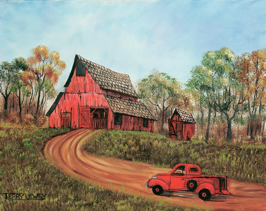 Old Red Barn Painting By Terry Lewey