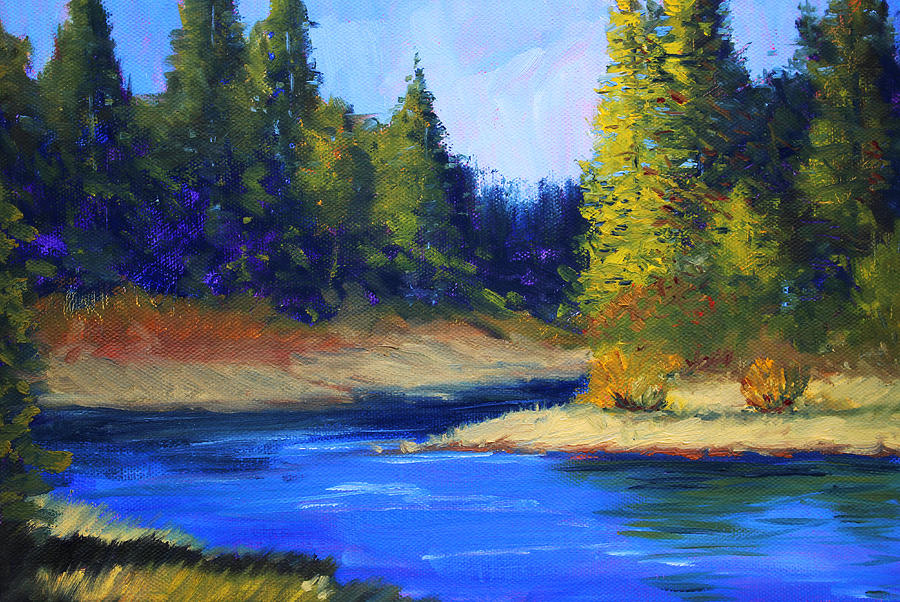 Chargers Iphone Wallpaper Oregon River Landscape Painting By Nancy Merkle