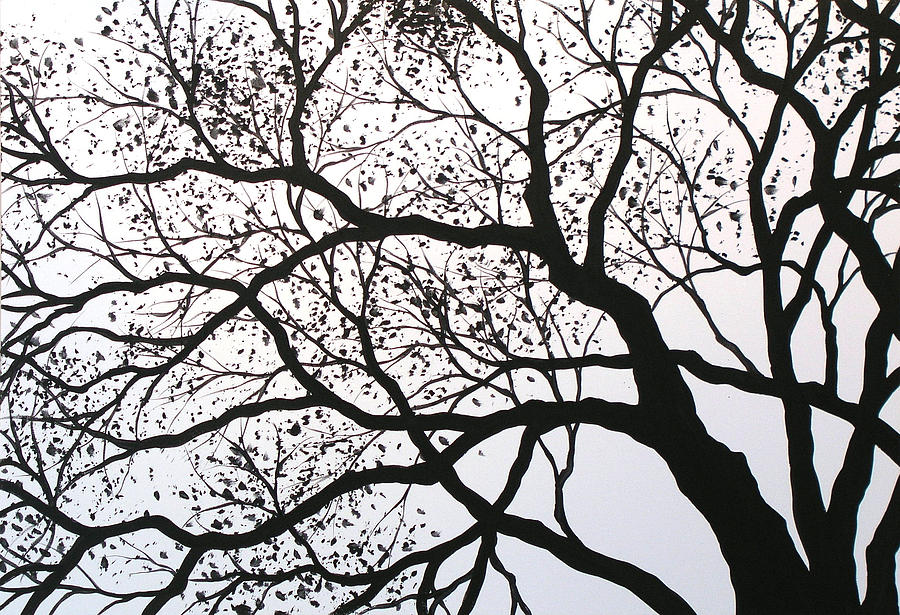 Original Abstract Black And White Landscape Trees Art Painting Print