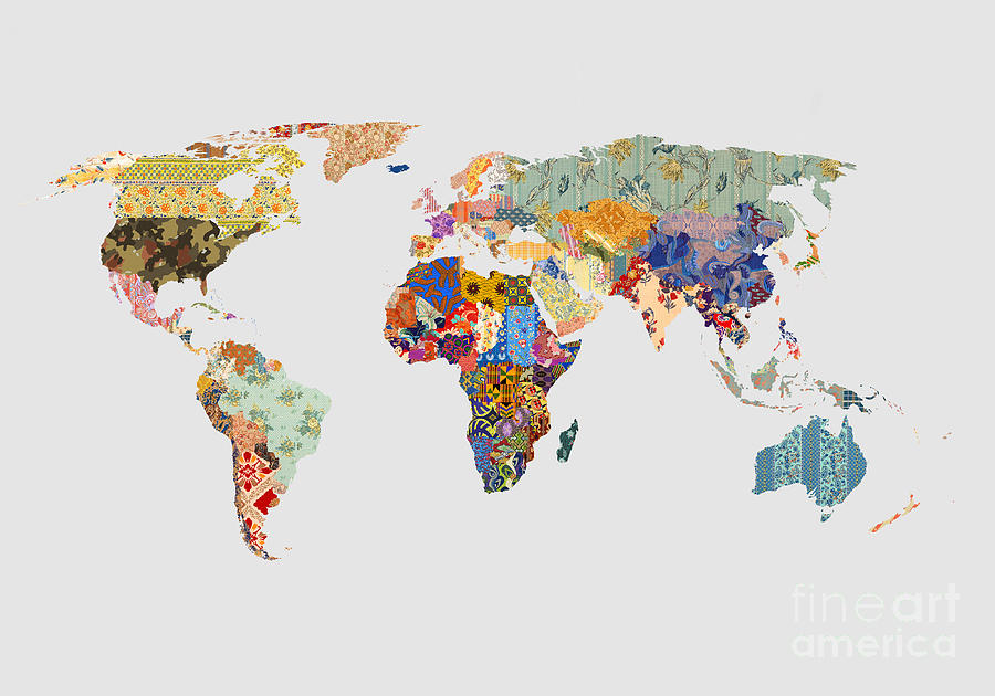 Vintage Map Iphone Wallpaper Patchwork World Map Digital Art By Kitty Bitty
