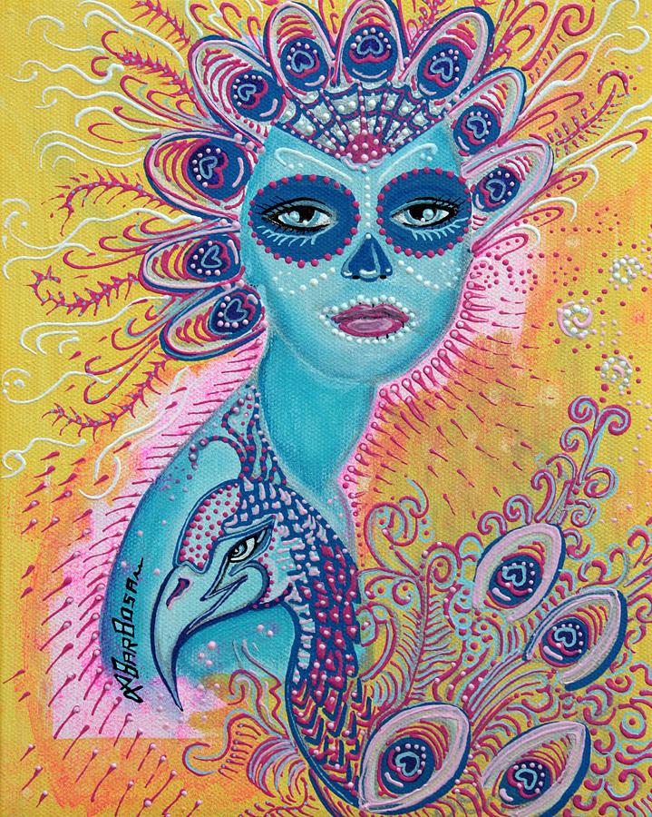 Colorful Skull Iphone Wallpaper Peacock Sugar Skull Painting By Laura Barbosa