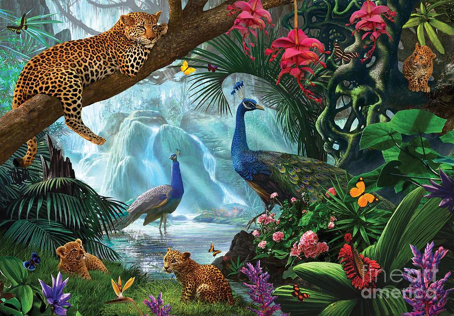 Bird Of Paradise Wallpaper Iphone 5 Peacocks And Leopards Digital Art By Steve Crisp