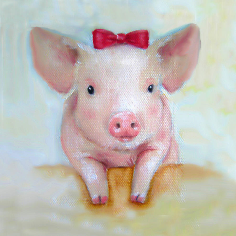 Cute Baby Girl Photos Wallpapers Pink Pig Nursery Art Canvas Print Painting By Junko Van Norman