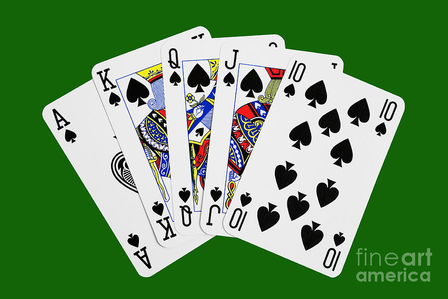 Dominoes Falling Wallpaper Playing Cards Royal Flush On Green Background Photograph