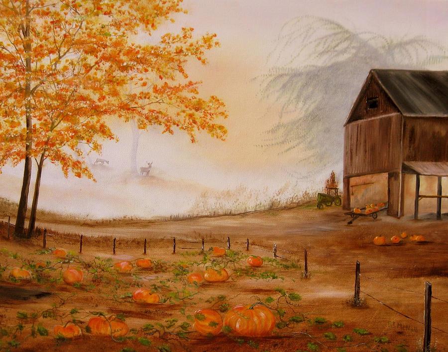 Fall Pumpkin Patch Wallpaper Pumpkin Patch Painting By Rj Mcnall