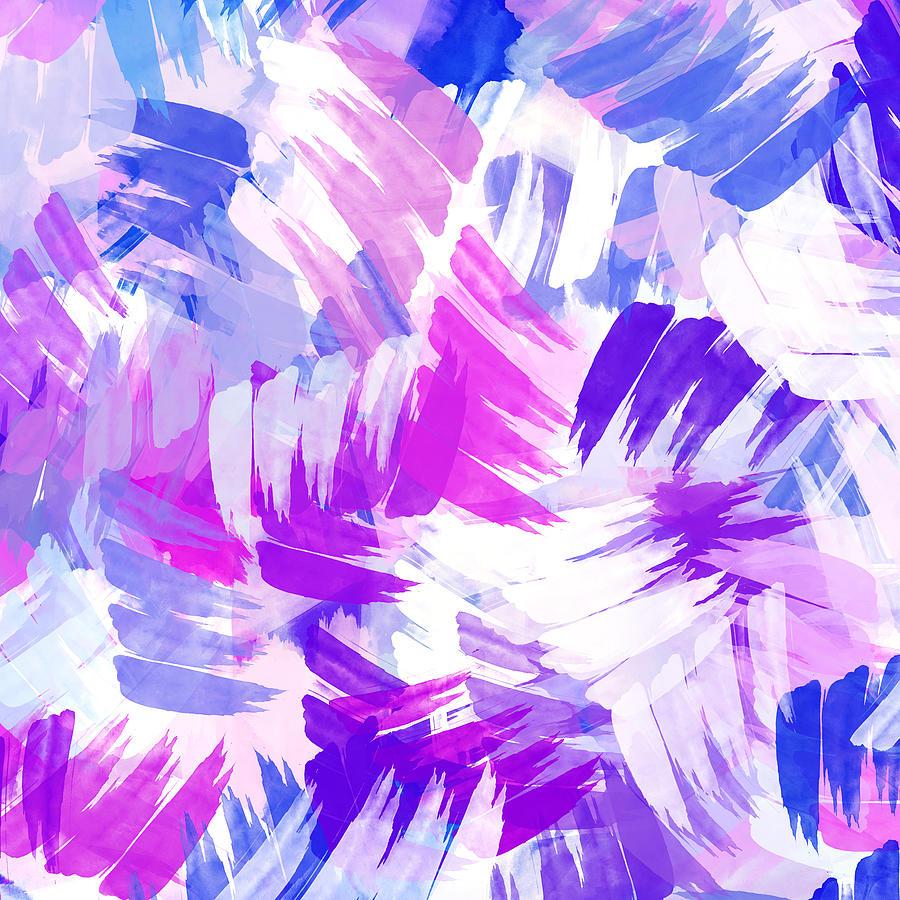 Cute Aqua Green Wallpaper Purple Abstract Paint Pattern Mixed Media By Christina Rollo