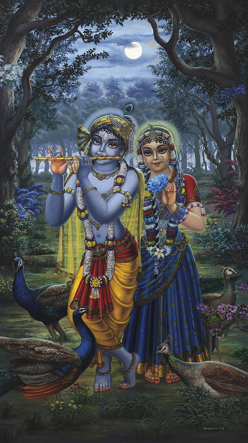 Lord Krishna With Gopis 3d Wallpaper Radha And Krishna On Full Moon Painting By Vrindavan Das