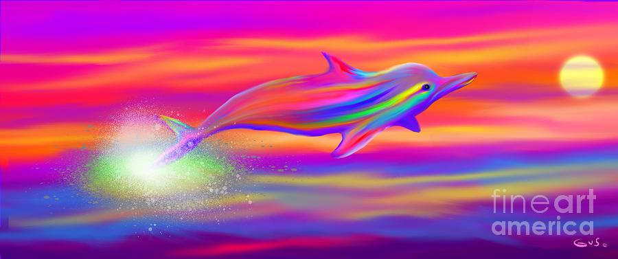 Android Animated Wallpaper For Iphone Rainbow Tide Dolphin Painting By Nick Gustafson