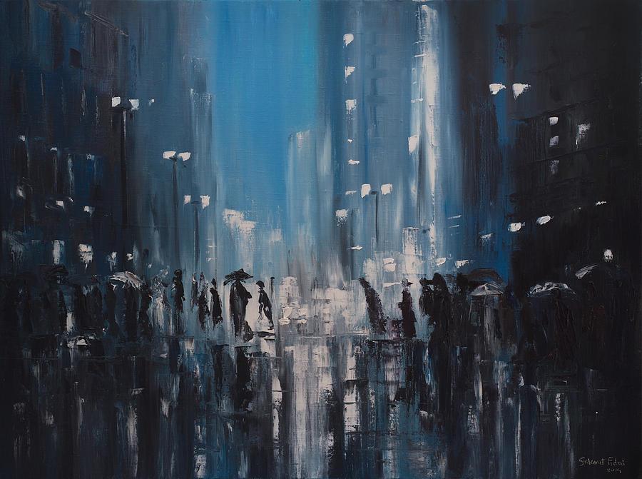 Raindrop Wallpaper Iphone X Rainy City Painting By Salavat Fidai