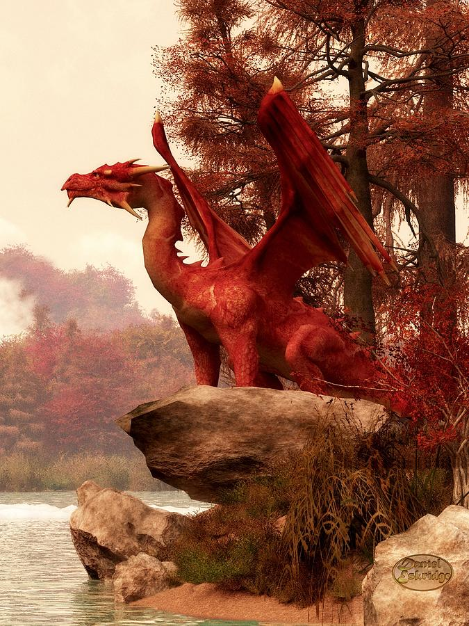 Skyrim Fall Wallpaper Hd Red Dragon In Autumn Digital Art By Daniel Eskridge