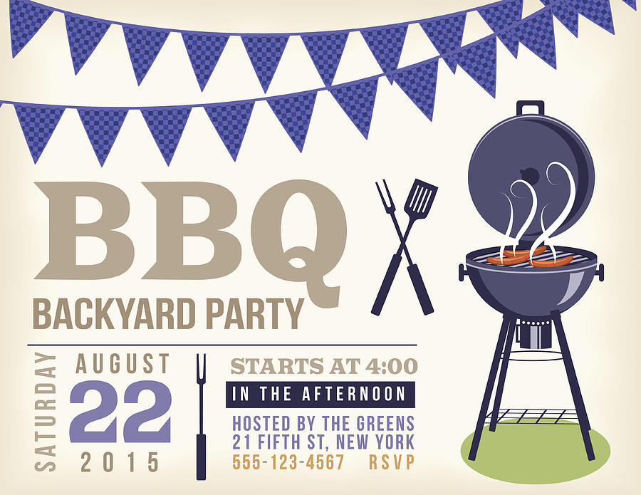 Retro Bbq Invitation Template With Checkered Flags by Diane Labombarbe