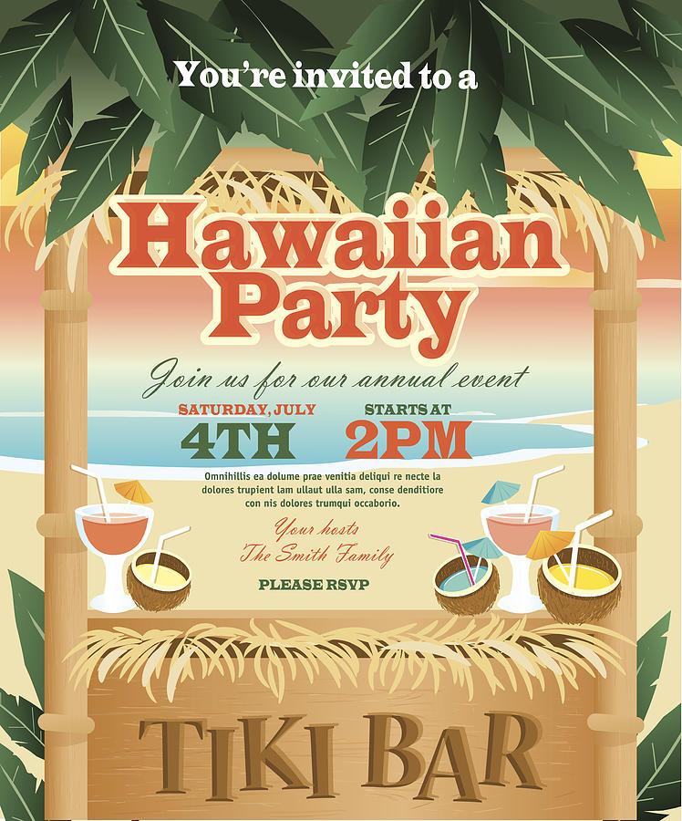Retro Beach Summer Tiki Bar Hawaiian Party Invitation Design