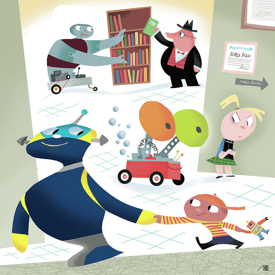 Children Robot Robots And Children At School By Bob Staake
