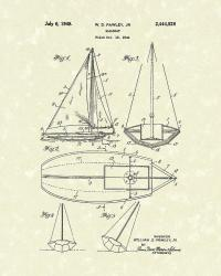 Sailboat 1948 Patent Art Drawing by Prior Art Design