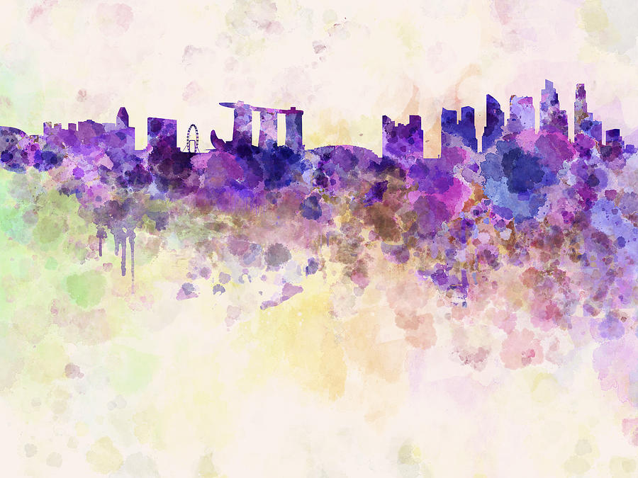 Cute Henna Wallpapers Singapore Skyline In Watercolour Background Digital Art By