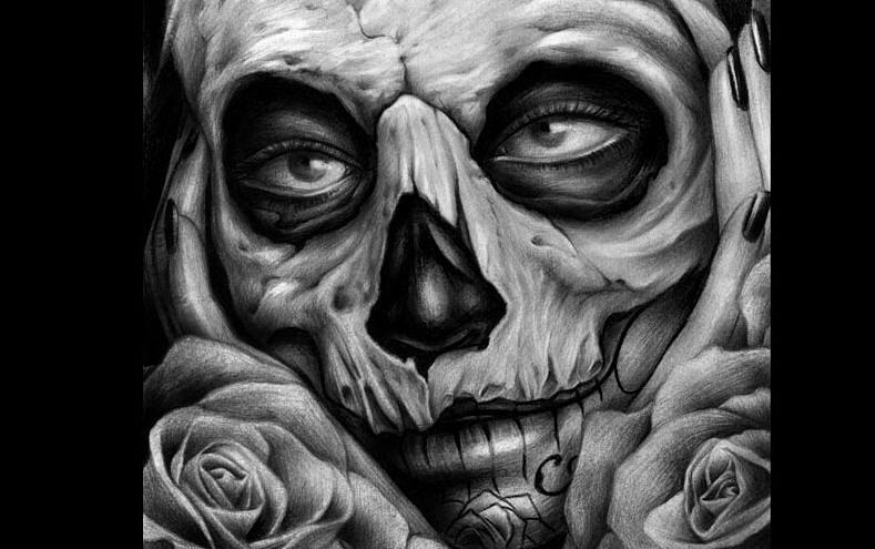 Gangsta Girl Iphone Wallpaper Skull Tattoo Art Drawing By Peter Harley