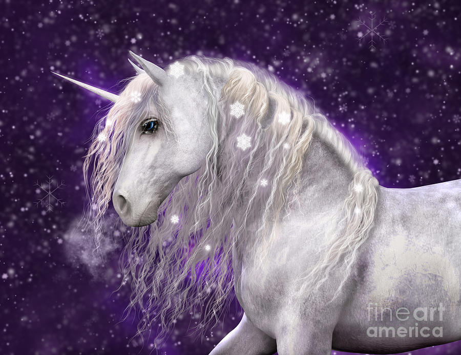 Iphone 5 Falling Snow Wallpaper Snow Unicorn With Purple Background Digital Art By Elle