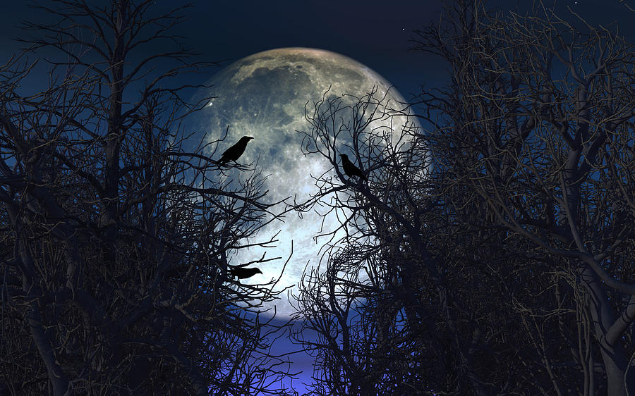 Spooky Background With Crows In Trees Against Moonlit Sky by