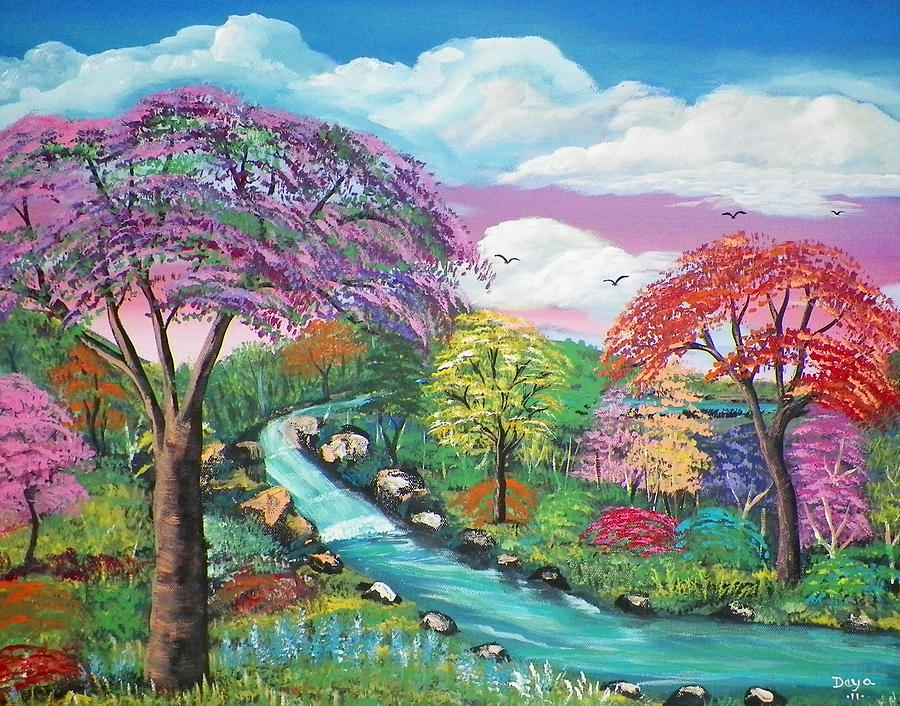 Fall Wallpaper Water Spring Season Painting By Deyanira Harris