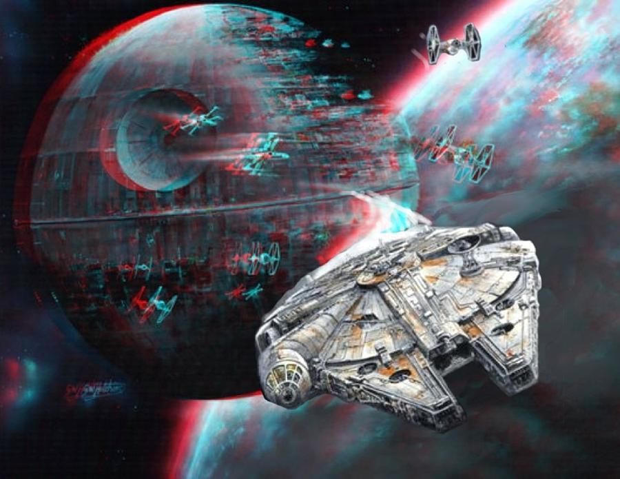 3d Wood Effect Wallpaper Star Wars 3d Millennium Falcon Painting By Paul Van Scott