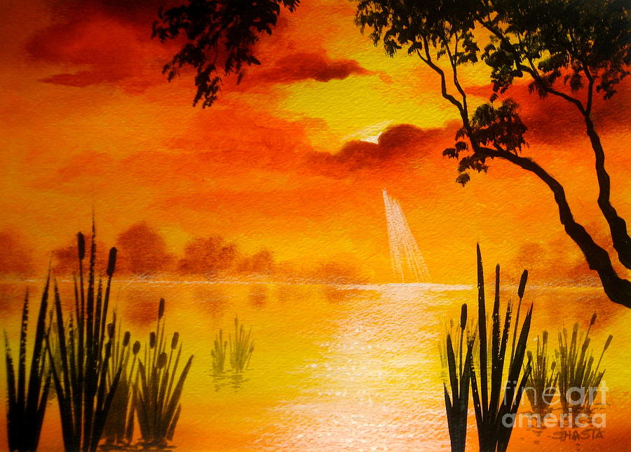 Summer Scene Painting by Shasta Eone