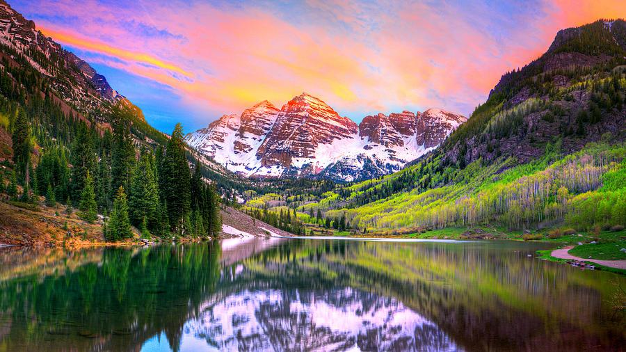 Colorado Fall Wallpaper Sunset At Maroon Bells And Maroon Lake Aspen Co Photograph