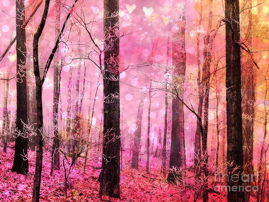 3d Forest Wallpaper Backgrounds Surreal Fantasy Fairytale Pink Forest Woodlands Pink