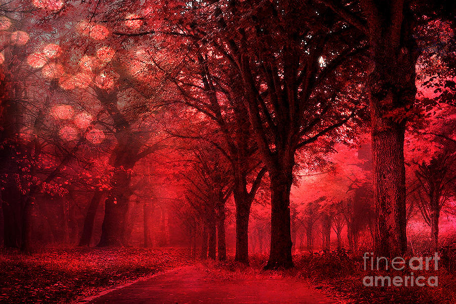 Beautiful Chinese Girl Paintings Widescreen Wallpaper Surreal Fantasy Red Forest Woodlands Nature Photograph By