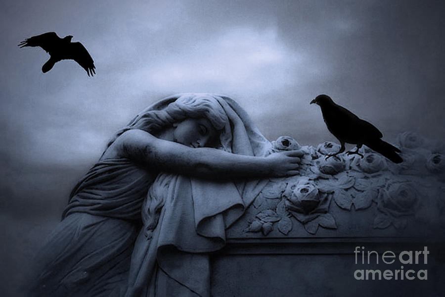 Gothic Girl Wallpaper Fantasy Surreal Gothic Cemetery Female Mourner Draped Over Coffin