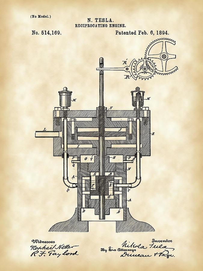 Tesla Reciprocating Engine Patent 1894 - Vintage Digital Art by