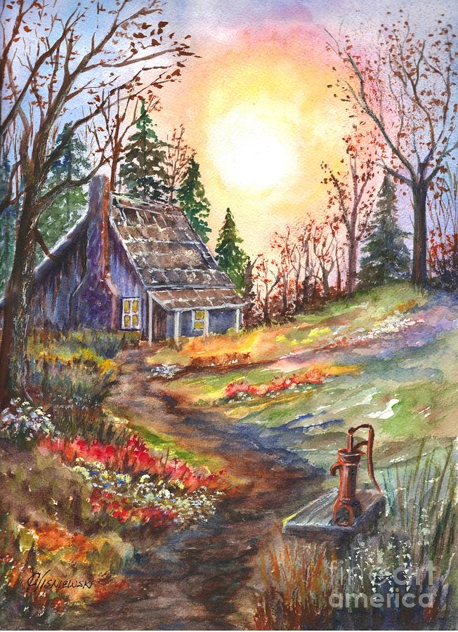 Fall Woodland Creatures Wallpaper That Old Cabin In The Woods Painting By Carol Wisniewski