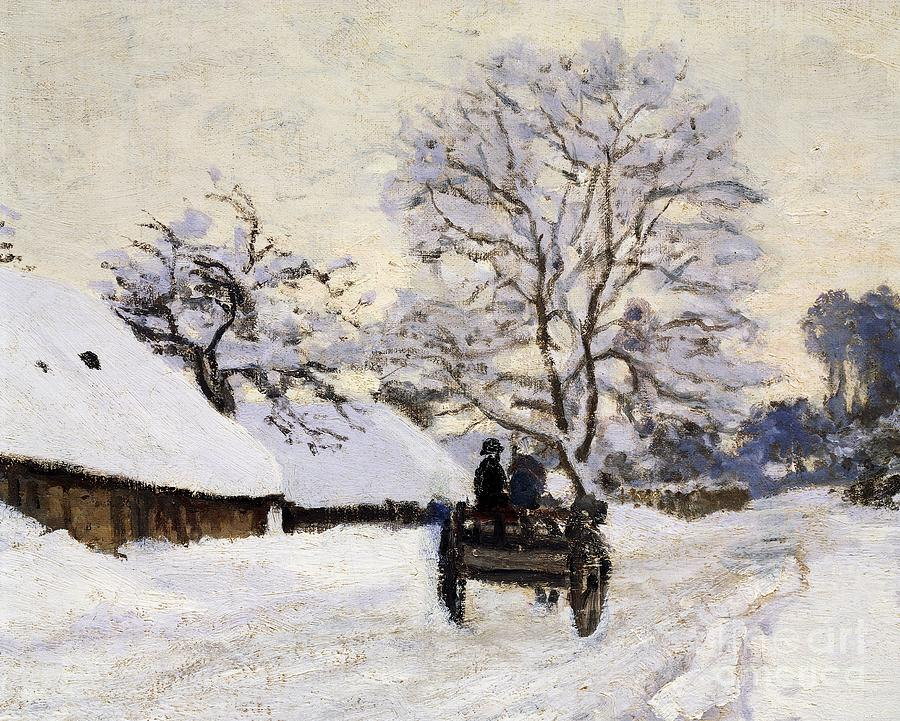 Monet Iphone Wallpaper The Carriage The Road To Honfleur Under Snow Painting By