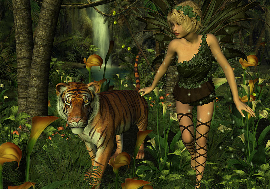 Faerie Girl Wallpaper The Fairy And The Tiger Digital Art By Jayne Wilson