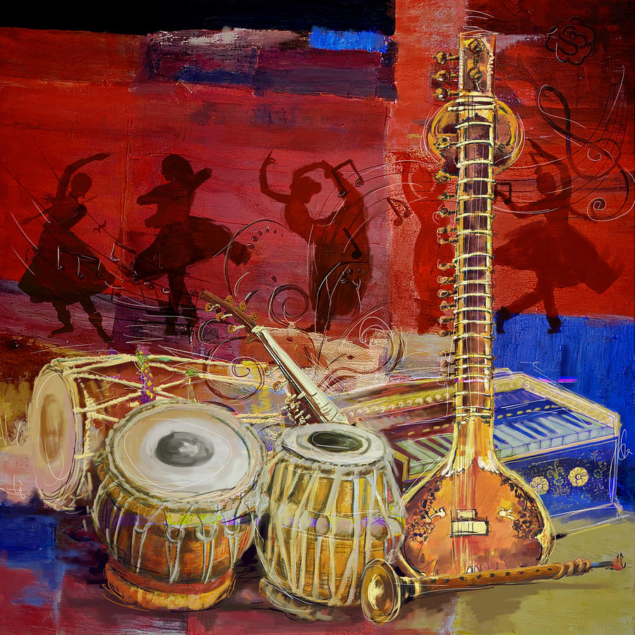 Hindustani Girl Wallpaper The Sitar Dhol Tabla And Harmonium Painting By Corporate