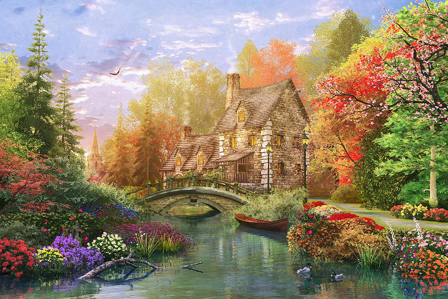 Fall Cabin The Woods Wallpaper The Water Lake Cottage Digital Art By Dominic Davison
